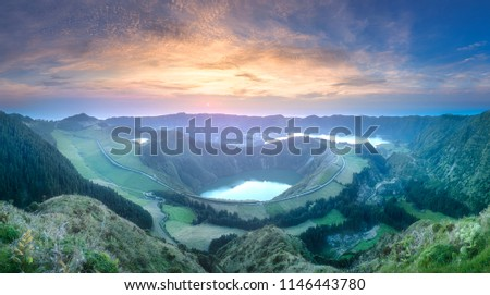 Mountain landscape with hiking trail and view of beautiful lakes Ponta Delgada, Sao Miguel Island, Azores, Portugal. #1146443780
