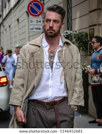 MILAN, Italy- June 16 2018: Men on the street during the Milan Fashion Week #1146452681