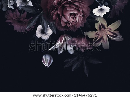 Floral vintage card with flowers. Peonies, tulips, lily, hydrangea on black background.  Template for design of wedding invitations, holiday greetings, business card, decoration packaging #1146476291