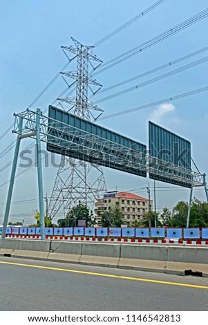 BANGKOK-THAILAND-APRIL 22 : Billboard structure near the road highway, April 22, 2016 Bangkok, Thailand #1146542813