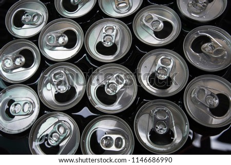 group of open can , top view. #1146686990