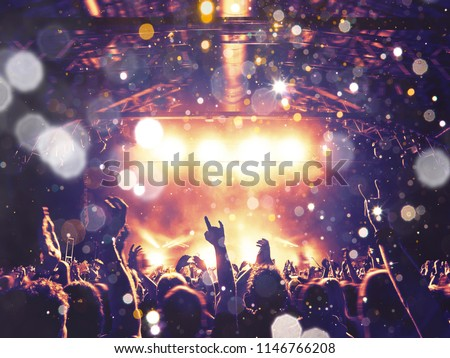 Concert audience under a rain of dust particles and confetti, stage is visible ahead #1146766208