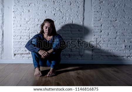 Young devastated depressed woman crying sad feeling hurt suffering depression in sadness emotion in pain and desperate expression. loneliness, depression and heartbroken concept #1146816875