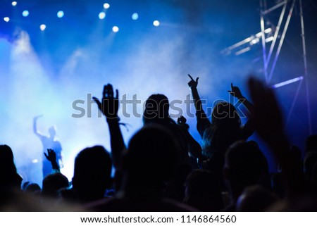 cheering crowd with raised hands at concert - music festival #1146864560