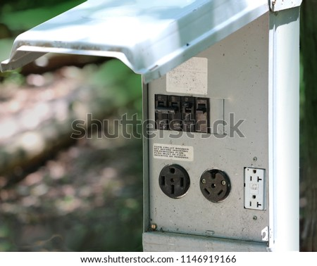 Outdoor electrical recepticle panel for RV hook up #1146919166