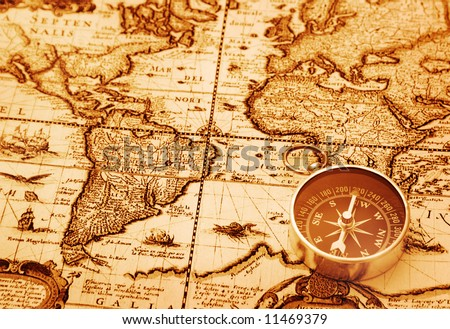 Compass on old map #11469379