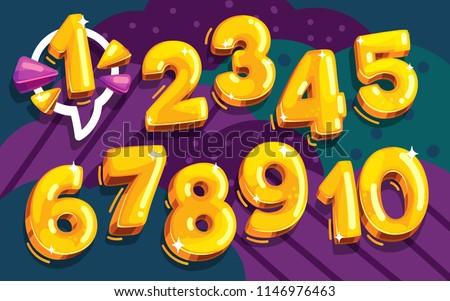 cartoon vector set of golden numbers Royalty-Free Stock Photo #1146976463