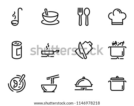 Set of black vector icons, isolated on white background, on theme Preparation of ingredients for cooking soup Royalty-Free Stock Photo #1146978218
