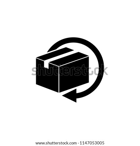 Delivery and Free Return Gifts or Parcels. Flat Vector Icon illustration. Simple black symbol on white background. Delivery and Free Return Gifts or Parcels sign design template for web and mobile UI