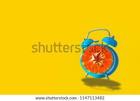 Retro Alarm Clock Pink, orange dial with slides, On yellow pastel background, With the concept of color, simplicity and fun time going forward, With copy space. #1147113482