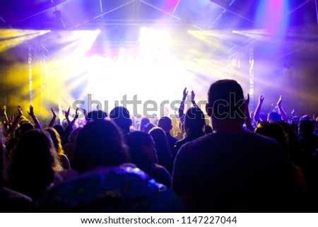 cheering crowd with raised hands at concert - music festival #1147227044