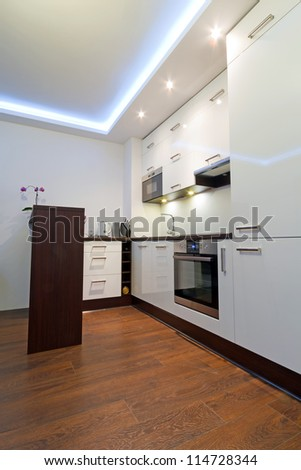 Modern white kitchen interior #114728344