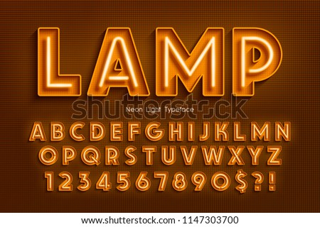 Neon light 3d alphabet, extra glowing font. Exclusive swatch color control. #1147303700