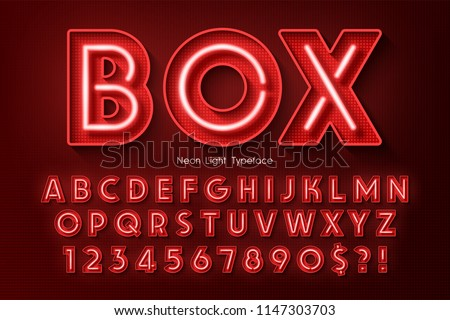 Neon light 3d alphabet, extra glowing font. Exclusive swatch color control. Royalty-Free Stock Photo #1147303703