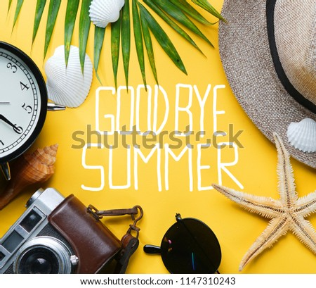 Goodbye Summer Text Flat Lay Traveling Holiday Vacation Yellow Background Blank Space In The Middle  #1147310243