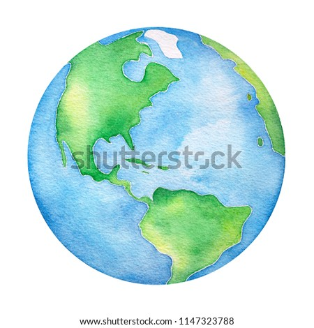 Planet Earth water color illustration. Symbol of life, nature, foundation, ecology, international events. Hand drawn watercolour painting on white background, isolated clip art element for design.