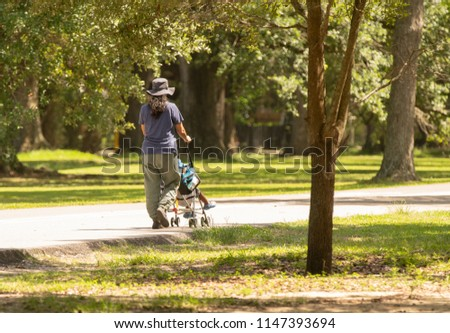 unknown woman with stroller takes her son for a picnic in the park #1147393694