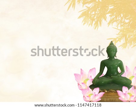 Buddha statue meditating is on blurred background with lotus flower. can be used montage for your graphic design layout and free space for text. Magha Puja, Vesakha Puja,  Asalha Puja day concept