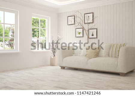 White room with sofa and green landscape in window. Scandinavian interior design. 3D illustration #1147421246