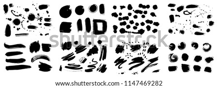 Set of Korean, Chinese, Japanese ink brush strokes, blots, sprinkles, dabs and daubs. Collection of grungy Oriental design elements for your design in vector #1147469282