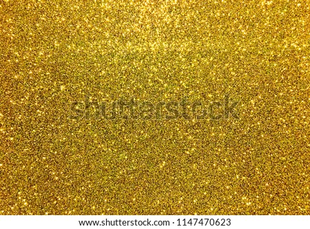 Gold glitter festive abstract twinkle texture background close-up, horizontal texture  #1147470623