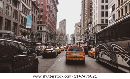 New York, USA - April 18, 2017: Streets of New York City - New York is also the most densely populated major city in the United States. With an estimated 2015 population of 8.5 million #1147496021