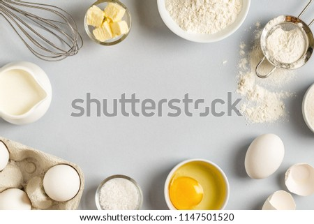 Background with ingredients for cooking, baking, flat lay, top view. #1147501520