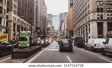 New York, USA - April 18, 2017: Streets of New York City - New York is also the most densely populated major city in the United States. With an estimated 2015 population of 8.5 million #1147524728