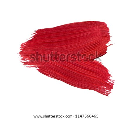 Red watercolor paint stain isolated on white background. Dynamic Brush Stroke. vector illustration. Art Abstract Space for Text. #1147568465