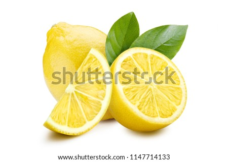 Group of lemons with leaves, isolated on white background #1147714133