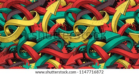 Seamless colorful background of Graffiti on dark background. Royalty-Free Stock Photo #1147716872