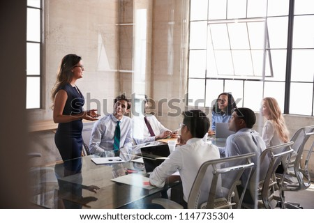 Businesswoman addressing colleagues at a meeting, side view Royalty-Free Stock Photo #1147735304