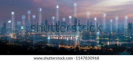 Wireless network communication icons with cityscape combination #1147830968