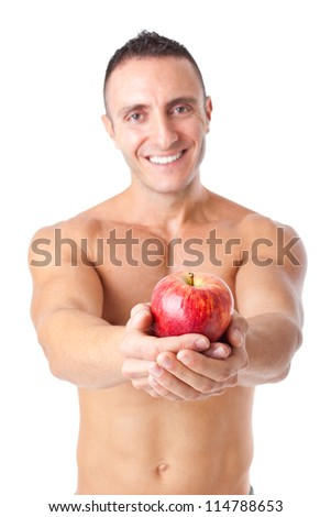 an healthy bodybuilder with a banana #114788653