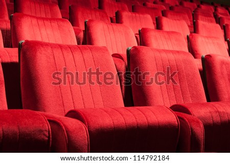 Empty red seats for cinema, theater, conference or concert #114792184