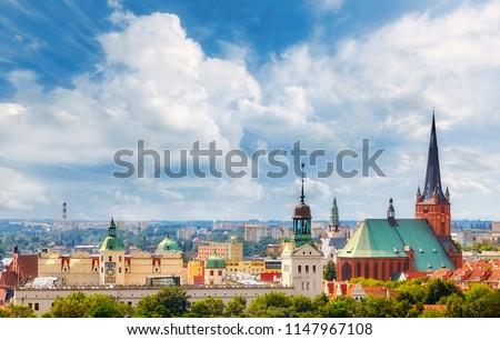 Panoramic view of Szczecin City downtown, Poland. Royalty-Free Stock Photo #1147967108