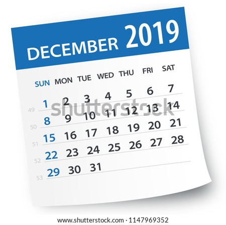 December 2019 Calendar Leaf - Illustration. Vector graphic page Royalty-Free Stock Photo #1147969352