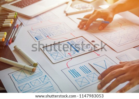 ux Graphic designer creative  sketch planning application process development prototype wireframe for web mobile phone . User experience concept. #1147983053