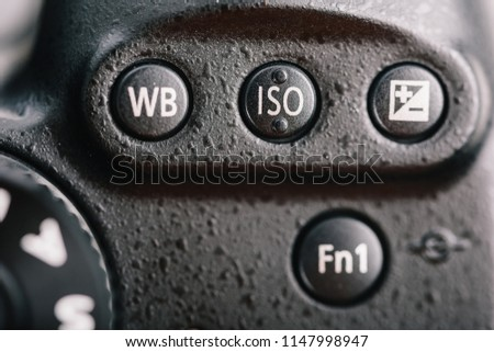 White Balance, ISO And Exposure Compensation Buttons On Digital Camera