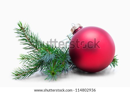 Christmas ball and green spruce branch, isolated white background #114802936