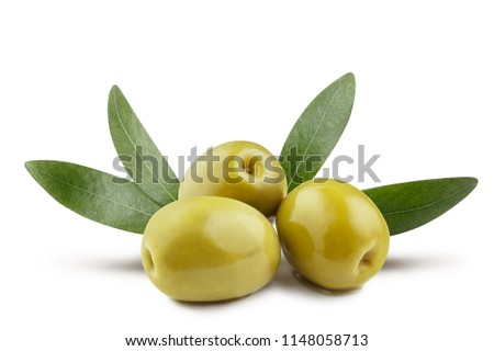 Delicious green olives with leaves, isolated on white background #1148058713