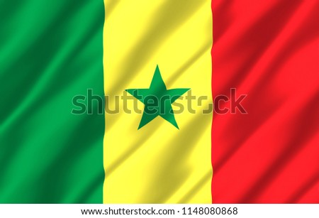 Senegal 3D waving flag illustration. Texture can be used as background. #1148080868