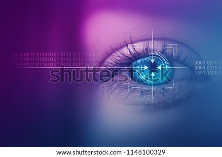 Biometric scan of the female eye close-up. The concept of modern virtual reality #1148100329