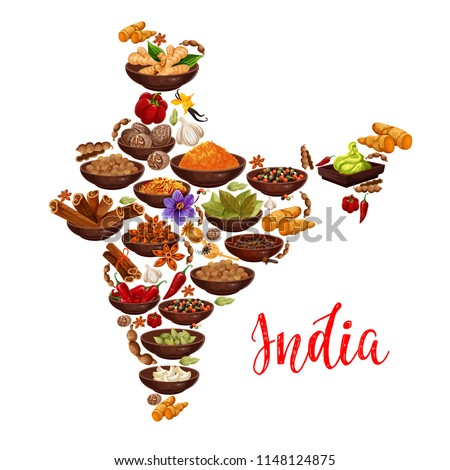 Indian cuisine spices in India map Vector design of curry, ginger and anise with masala seasonings of chili pepper and turmeric curcuma, saffron or vanilla and nutmeg Royalty-Free Stock Photo #1148124875