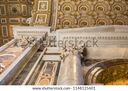 Rome Italy June 27 2015 : Looking up at  the incredible ceiling inside St Peter's Basilica, Rome #1148125601