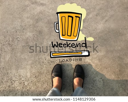 Weekend beer loading and woman leather shoe concrete background