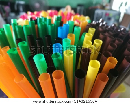 Many straws in cafe shop #1148216384