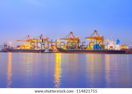 container port terminal, sunrise - catchy colors #114821755