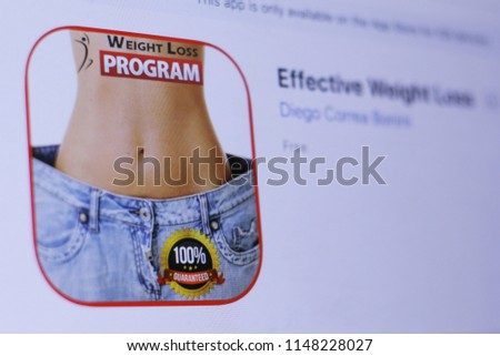JEMBER, EAST JAVA, INDONESIA, August 02, 2018. Effective Weight Loss app in play store. close-up on the laptop screen. #1148228027