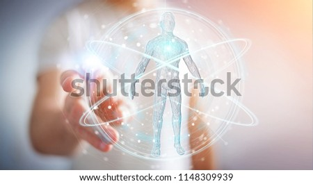 Businessman on blurred background using digital x-ray human body scan interface 3D rendering #1148309939
